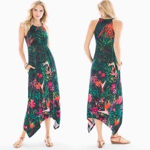 Soma Green Safari Tropical Print Maxi Dress Sz L